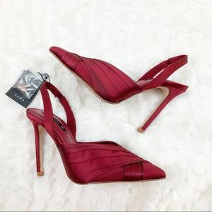 Zara red satin pointed toe sling back heels